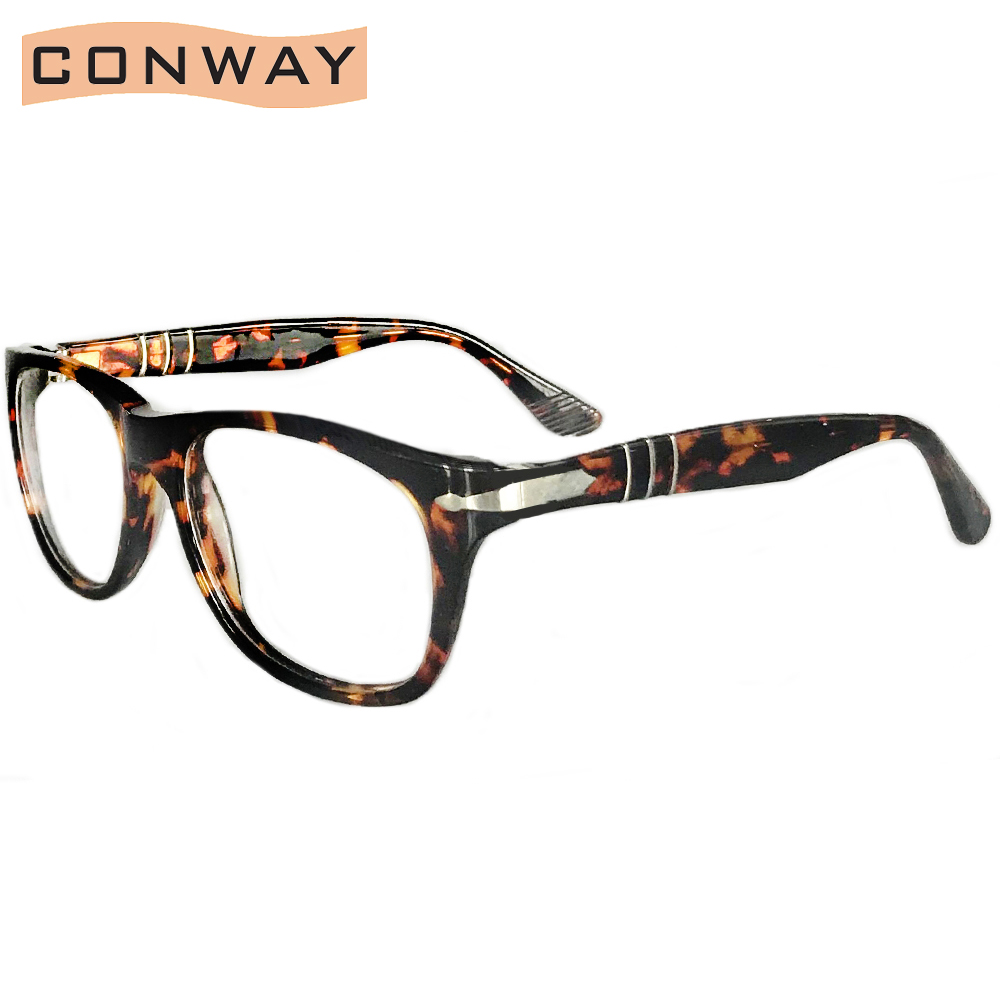 Conway Personal Glasses Frame Clear Lens Acetate Spectacle Glasses Frame No Prescriotion Eyeglasses With Spring Hinge Unisex