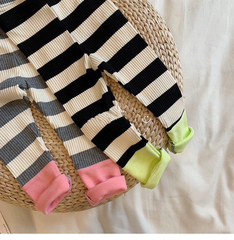 766.0¥ 38% OFF Kids Pants 2020 New Baby Girl Leggings Cute Striped Trousers Autumn Winter Cotton Br...
