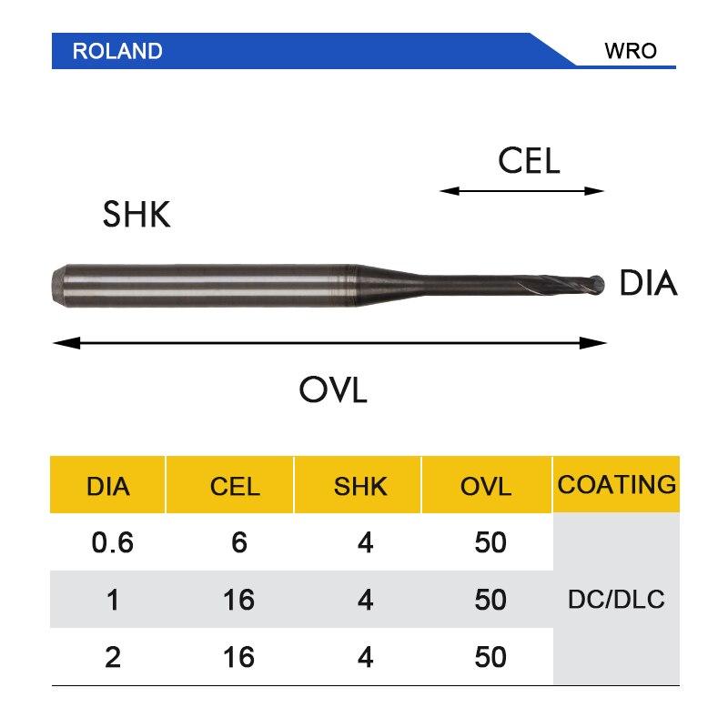Купить с кэшбэком UCHEER 1pcs/set cad cam dental burs Roland Milling Cutter DLC Coating for milling Zirconia Block Available  0.6mm, 1.0mm, 2.0mm