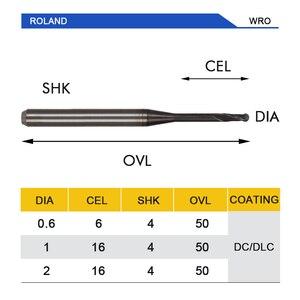 Image 5 - UCHEER 1 adet/takım cad cam diş burs Roland freze kesicisi DLC kaplama freze zirkonyum blok mevcut 0.6mm, 1.0mm, 2.0mm