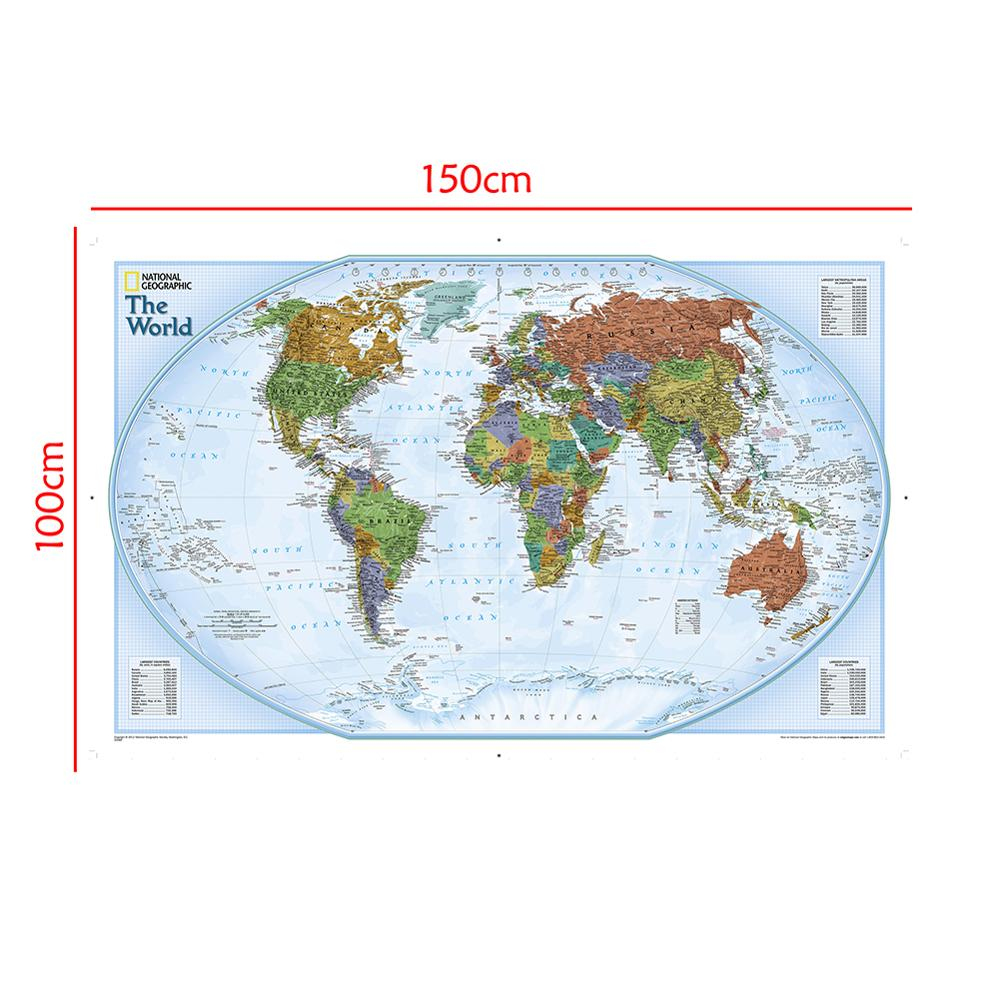 150x100 Non-woven Waterproof Map World Map With Important Cities Of Various Countries Marked Without National Flag