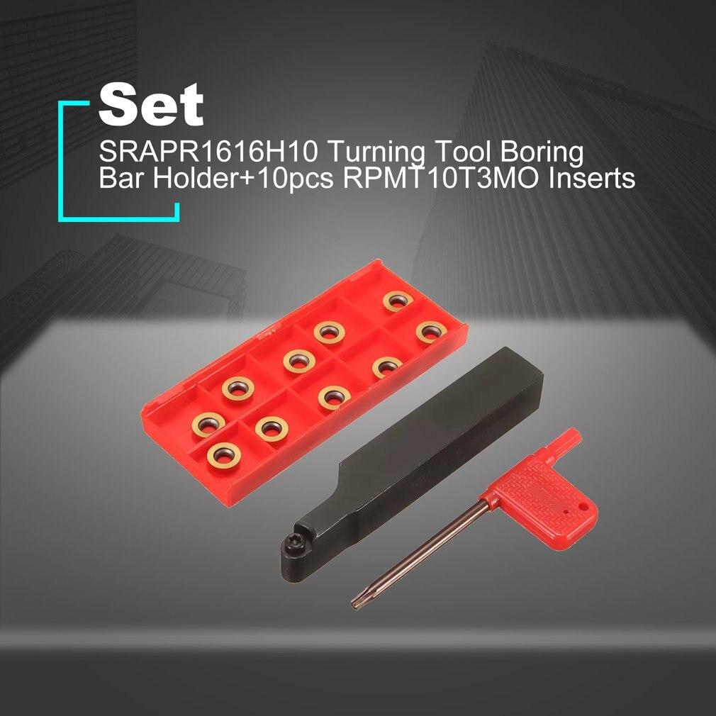 Face Milling SRAPR1616H10 Lathe Tool Holder w// 10Pcs RPMT10T3MO Carbide Insert