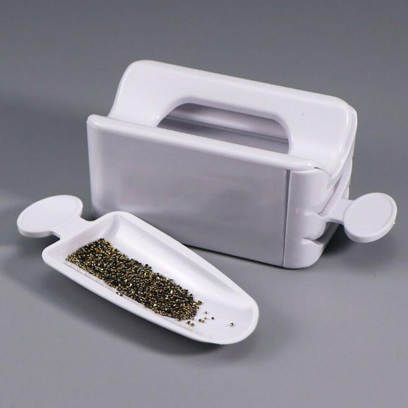 Magic Dipping Powder Recycling Tray White Nail Glitter Magic Mirror Powder Sequin Rhinestone Recycling Box Manicure Portable(China)