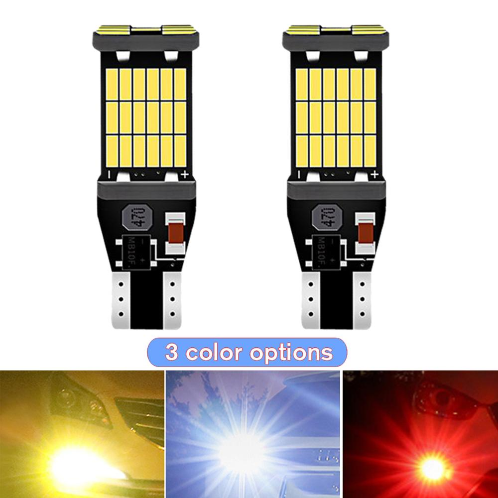 2x T15 W16W Car LED Light 45smd Canbus Bulb Error Free Vehicle Brake Parking Revering Turn Signal Lamp Taillight White Orange