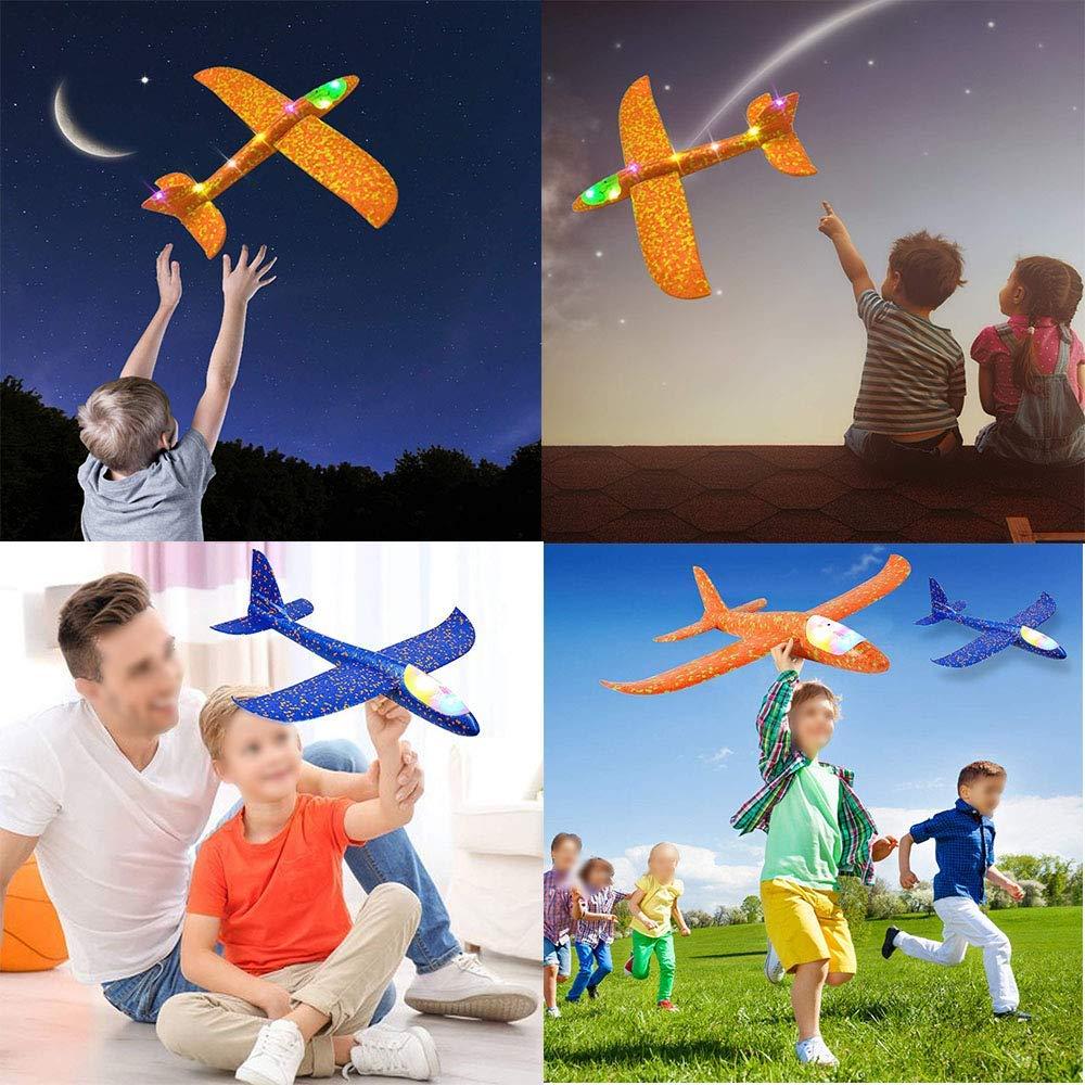 Jouet d'avion de LED de jet de main de mousse, modèle d'avions d'inertie de planeur de Mode de vol de 48cm LED, avions d'avion pour le Sport en plein air d'enfants 4