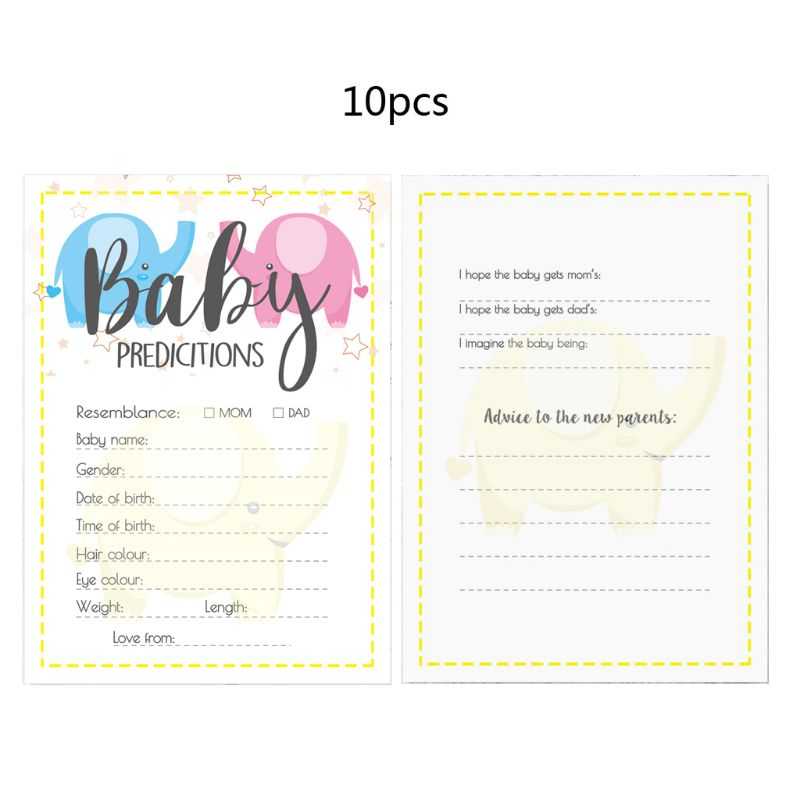 10 Pack Baby Shower Prediction Advice Cards - Baby Shower Games Gender Neutral P31B