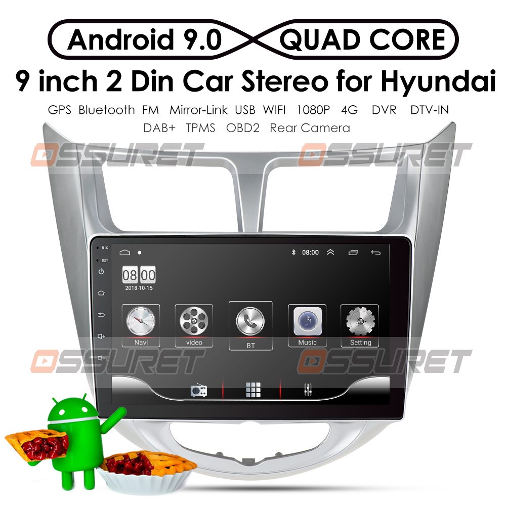 For Solaris 1 2 Hyundai Accent Verna 2010-2016 1G 16G Car Radio 2 din android 9 0 Video multimedia Player Navigation GPS WiFi 4G