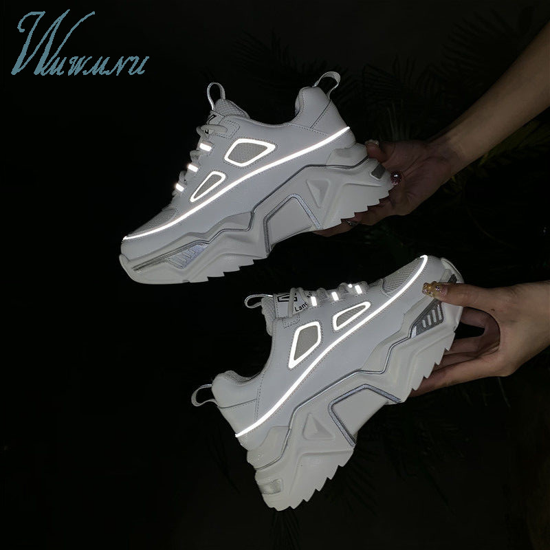 Sport Breathable Bling Sneakers Reflective Women White Casual Winter Plush Fashion Dad Shoes Cool Luxury Basket Lace-up Running