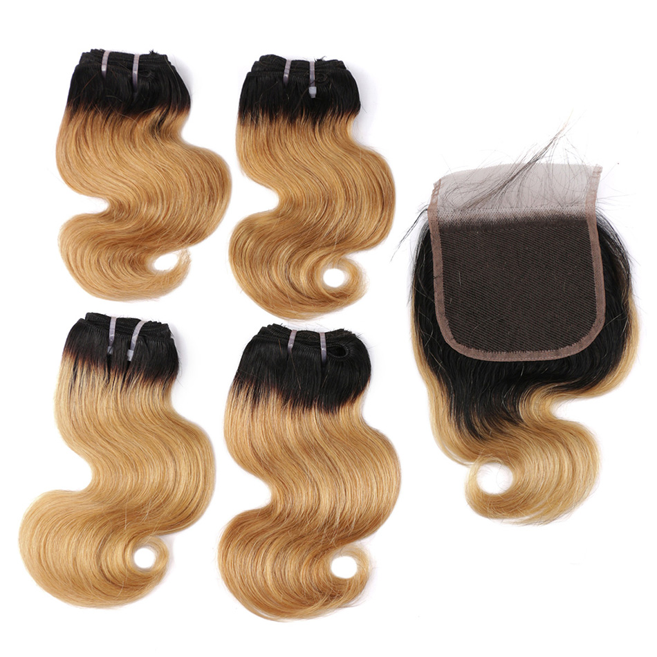 BHF 100% Brazilian Human Hair Body Wave 4pcs Lot With Closure Non-remy 8inch 50g/pack Human Hair Extensions