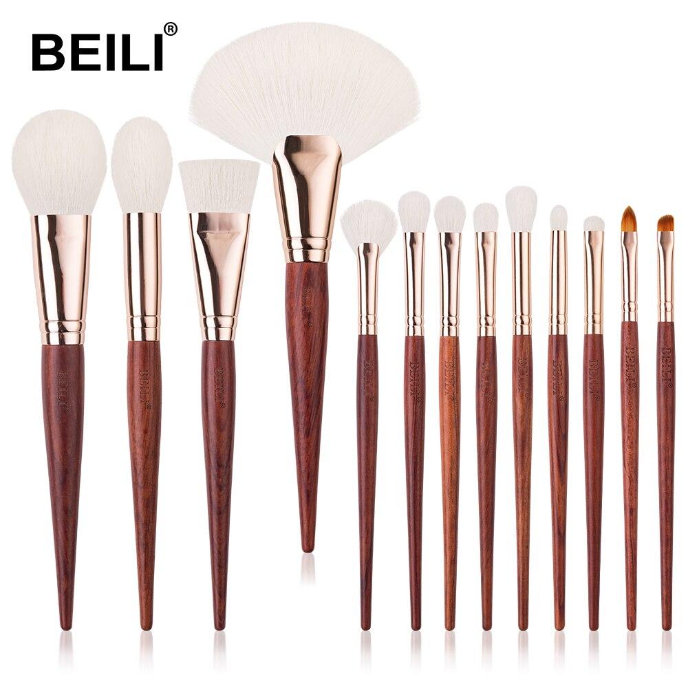 Набор профессиональных кистей для макияжа из красного дерева BEILI, тени для век, румяна, натуральные 13 шт., набор кистей для макияжа лица