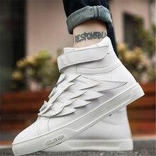 Hip-hop Tide Shoes Non-slip White Shoes Men Fashion Sneakers Soft Comfortable Wings Personality Men's Sports Shoes Size 37-44