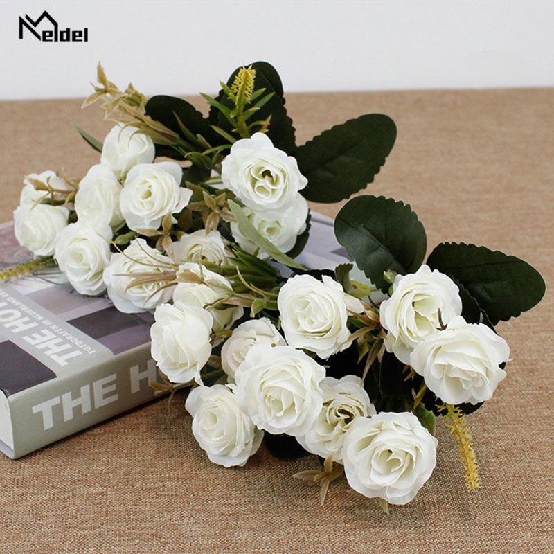 Meldel 10 Heads Mini Artificial Flowers Rose Bunch Silk Fake Flores For DIY Home Garden Wedding Decor Imitation Fresh Rose Fleur