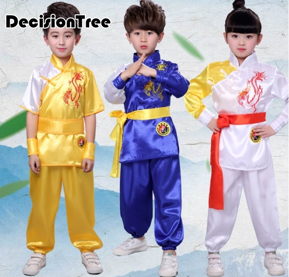 2021 детская Китайская традиционная форма ушу для детей, наборы боевых искусств с вышивкой дракона, костюм для выступления на сцене для мальчиков и девочек| | | АлиЭкспресс
