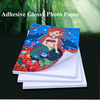Wysoki połysk samoprzylepne do druku atramentowego z powrotem klej naklejki papier fotograficzny A4 A6 tanie i dobre opinie 200g 21-50 arkuszy pakiet Adhesive PHOTO PAPER Bezpieczne Opakowanie Inne
