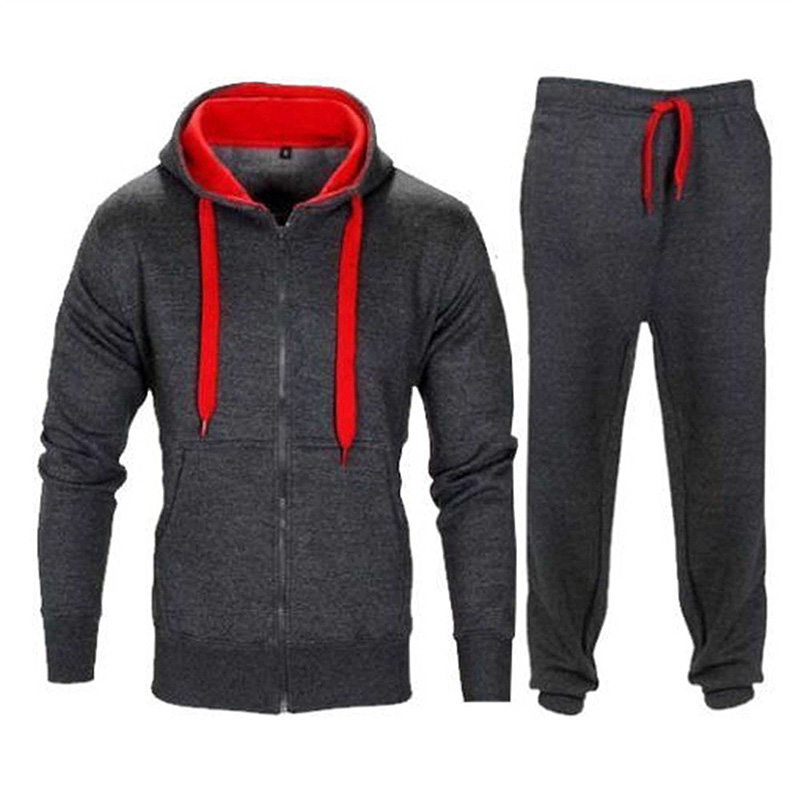 Mens Sets Autumn Winter Hoodies Pants 2 Pieces Tracksuit 2019 Casual Hooded Sweatshirt Sportswear Sweatpants Suit Custom LOGO