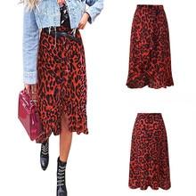 Leopard Print Vintage Long  Women's   Casual High Waist Pleated  Skirt