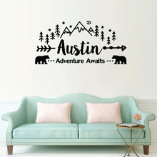 Adventure Awaits Wall Decal Personalized Name Vinyl Sticker Decals Custom Name Mountain Nursery Rustic Decor Kids Room eco friendly custom name airplane clouds decal nursery decor boys kids room decor vinyl wall sticker airplanes with clouds y 80