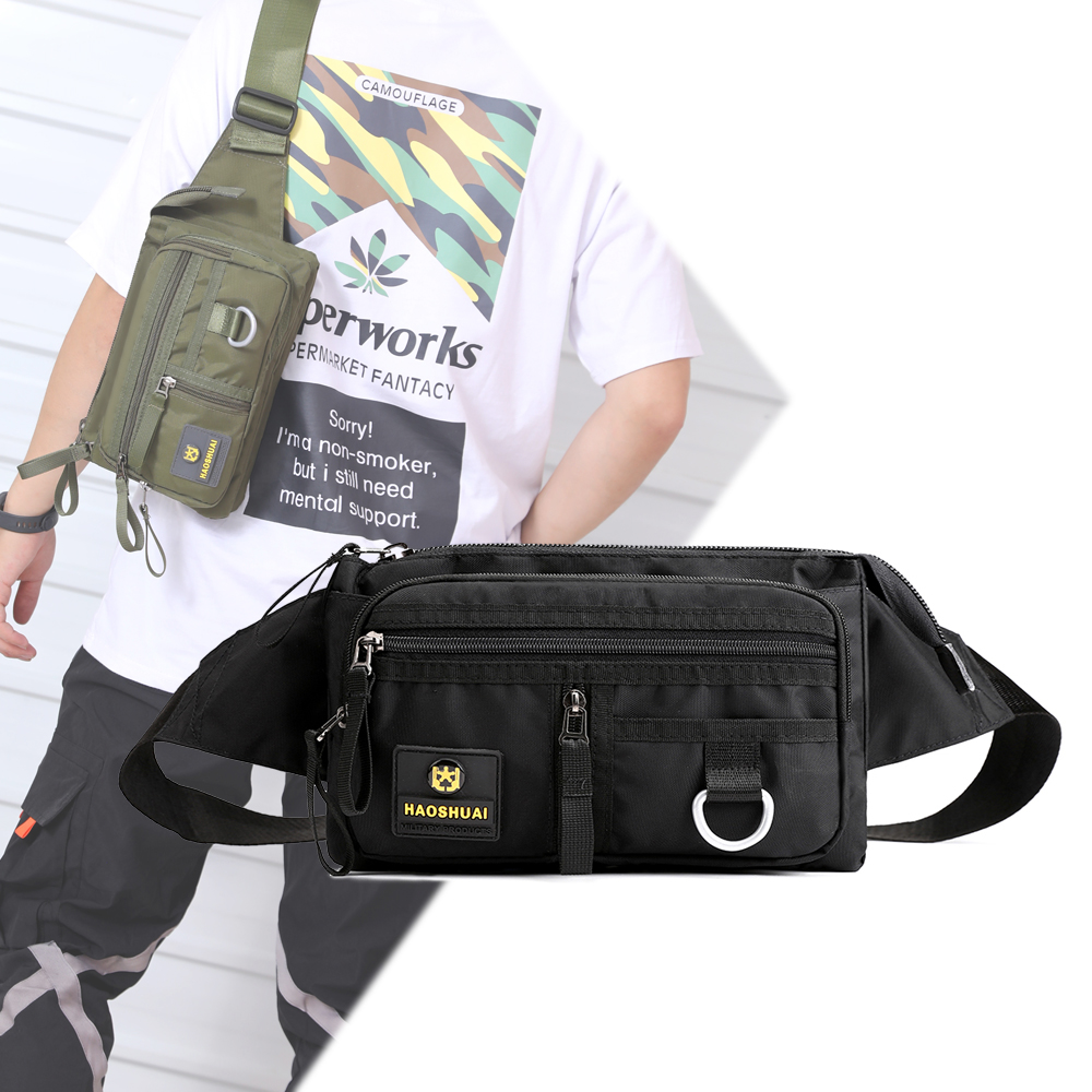 Men's Nylon Waist Bags On A Belt Kidney Banana Fanny Pack Casual Travel Waist Belt Pack 2020 Autumn New Men Pouch Chest Bag Male