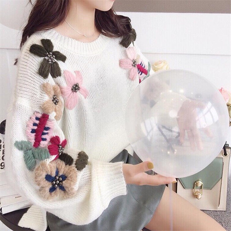 2019 Autumn Winter Flower Women Knitted Pullovers Pink White O-neck Loose Solid Sweater Lady Thicken Warm Coat Tops