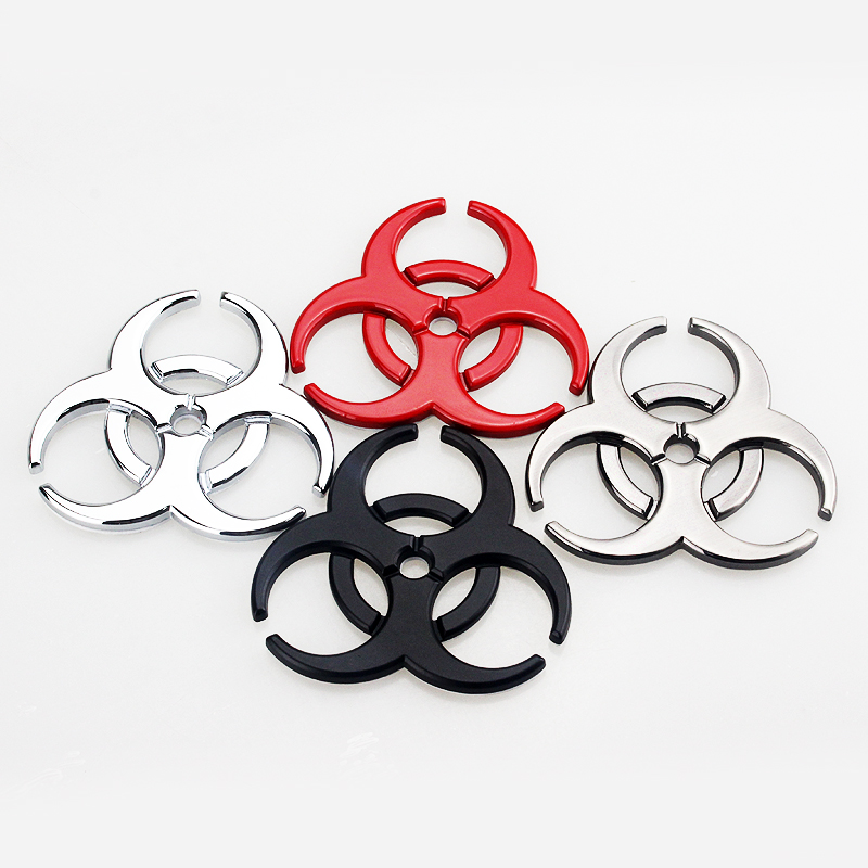 Car 3D Metal Sticker Biohazard Badge Protective Umbrella Emblem Logo Decal Car Side Fender Rear Trunk Decoration Accessories