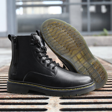 New Couple Winter Boots Men Snow Boots Genuine Leather Mens Warm Winter Boots Punk Motorcycle Man Shoes Thick Heel Outdoor Shoes