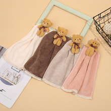 Cartoon animal bear hand towel absorbent coral fleece bear with souvenir bathroom hanging type absorbent cute towel