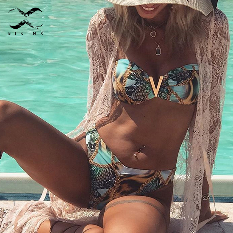 Sexy Micro Bikini Set 2020 Print Swimsuit Female Bandeau High Cut Swimwear Women Summer Bathers Bathing Suit Brazilian Bikini