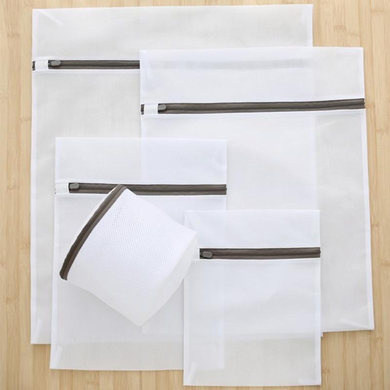Gray Zipper Laundry Bag Clothes Wash Bag  Washing Machine Fine Net Laundry Bra Bag