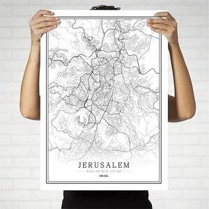 Израиль черно-белая карта города плакат Скандинавская гостиная Jerusalem Natanya настенное искусство домашний декор холст живопись креативный под...