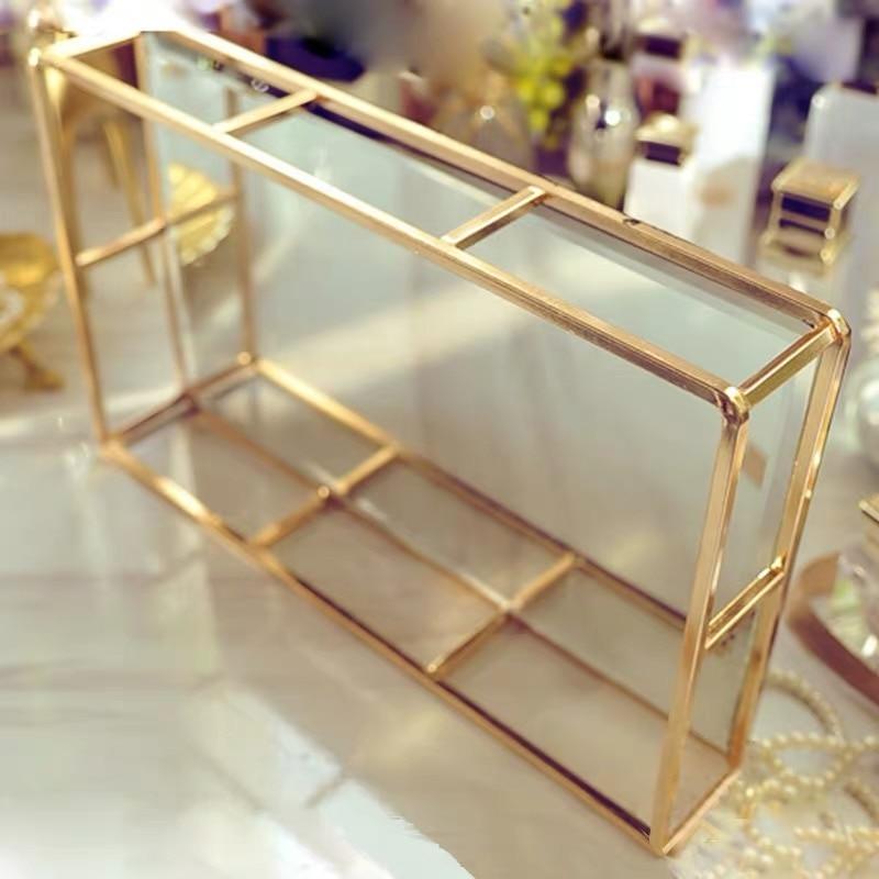 Boîte de rangement Vintage en verre métal   Vintage, plateau en or, bijoux, cosmétiques présentoir, plateau de rangement des cosmétiques, organisateur de cuisine, décor de la maison - 4