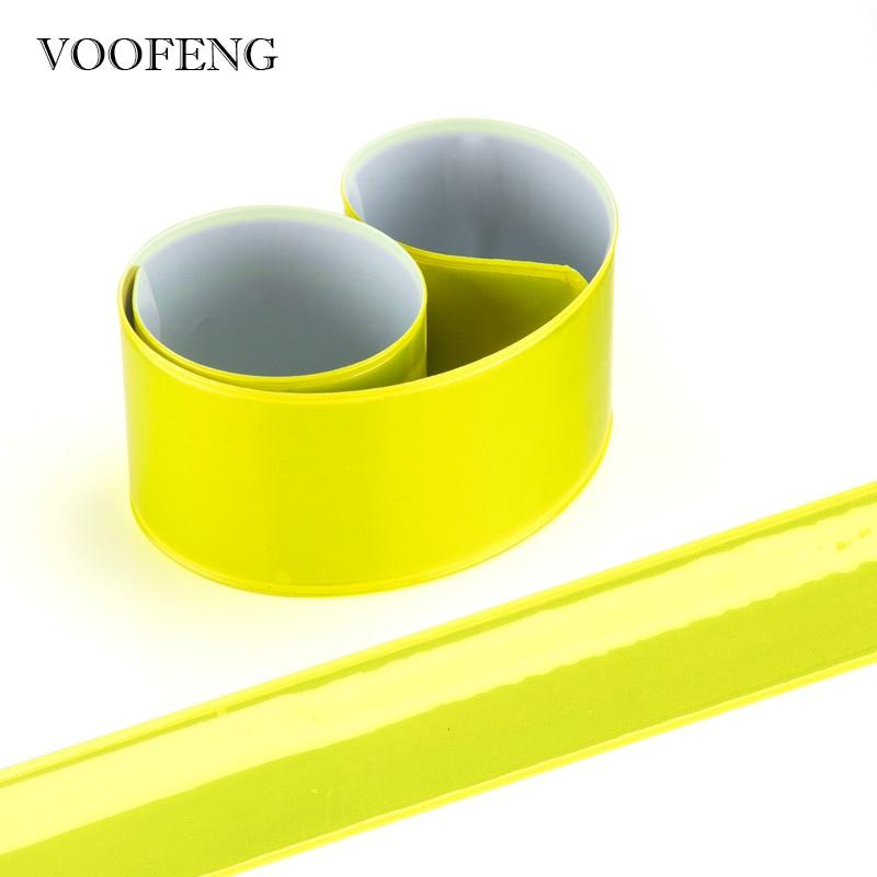 2pcs High Visibility Reflective Wristband Slap Band Bracelet For Night Sports Running Cycling Reflective Strap 30*3cm