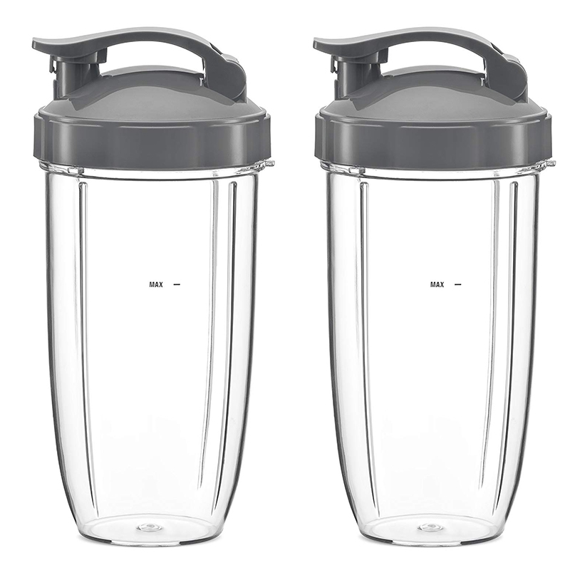 32Oz Replacement Cups With Flip Top To Go Lid For NutriBullet 600W And Pro 900W Blender (2 Pack)