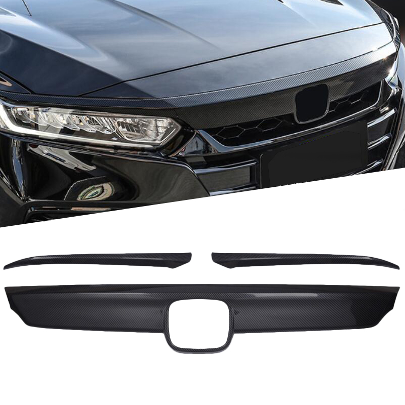 For Honda Accord 10th 2018 2019 ABS Chrome Car Front Hood Bumper Lid Bonnet Grille Cover Trim Glossy Black Carbon Fiber Style