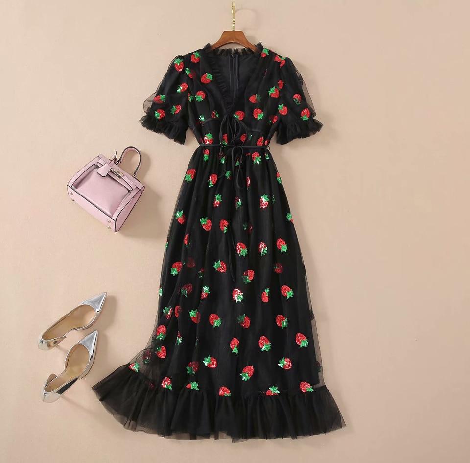 La. tendre preto morango vestido mulher puff manga malha vestido longo rendas morangos plus size vestidos pretos 2021 feminino festa