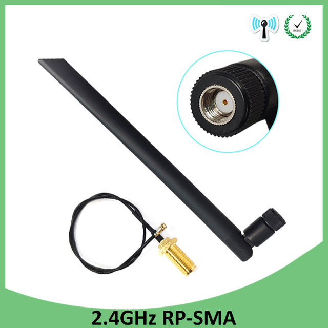 10 шт. оптовая продажа 2,4 GHz антенна wifi RP-SMA разъем 5dBi WiFi антенна 2,4 ghz антенна + 21cm RP SMA к ufl./IPX 1,13 Pigtai кабель