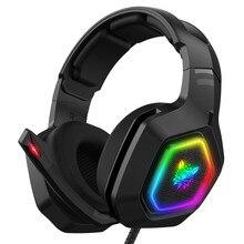 Onikuma k10 fone de ouvido de jogos profissional montado na cabeça rgb iluminação colorida mic telefone pc ps4 xbox switch gamer fone de ouvido com fio