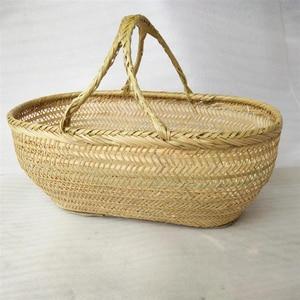 Image 1 - Round large bamboo wicker basket straw rattan handmade organizer baskets for storage bread fruit Laundry Panier Osier Picnic