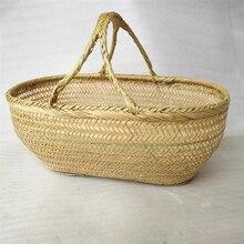 Yuvarlak büyük bambu hasır sepet hasır rattan el yapımı organizatör sepetleri depolama ekmek meyve çamaşır Panier Osier piknik