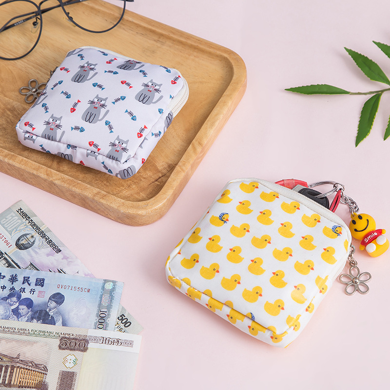 Korean-style Fabric Purse Mini Wallet Cute Small Wallet Simple Zipper Square Sling Bag Students Coin Bag Key