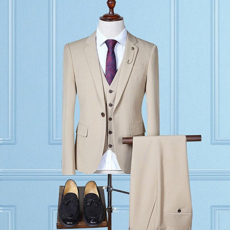 Men Suits Mens Suit High Fashion Men's Business Slim Fit костюм 3piece Suit Blazed With Trousers And Vest костюм мужской