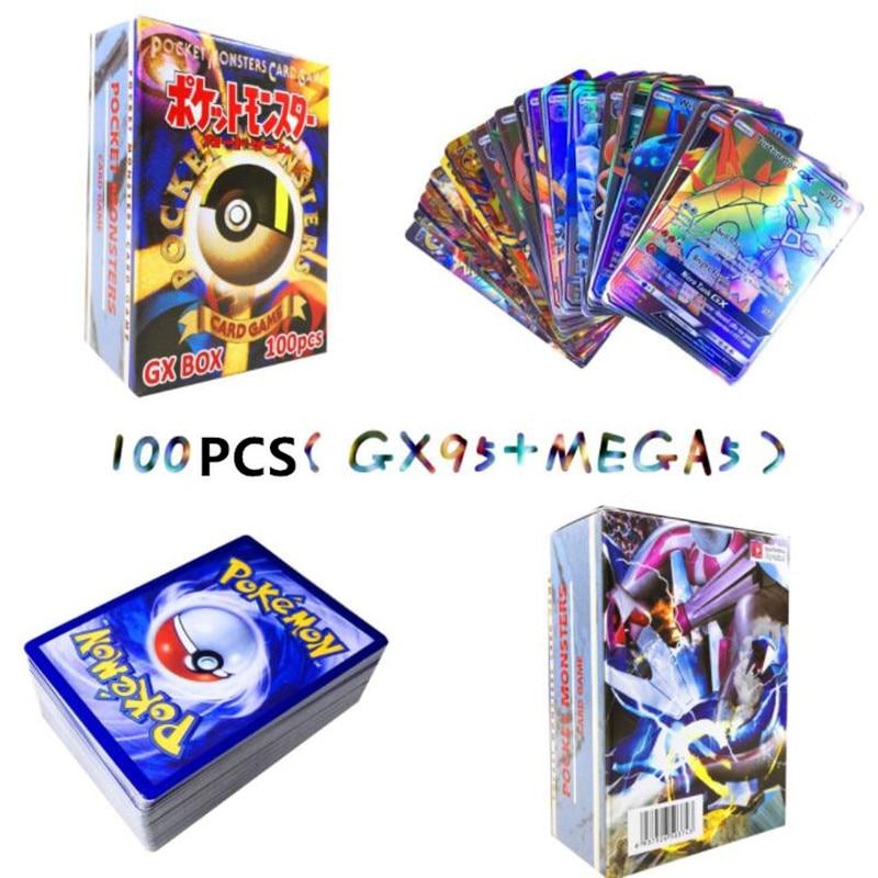 300 шт GX 20 60 100 шт Мега Сияющие карты игра битва карт торговые карты игра детская игрушка «Покемон» - Цвет: 95GX 5MEGA