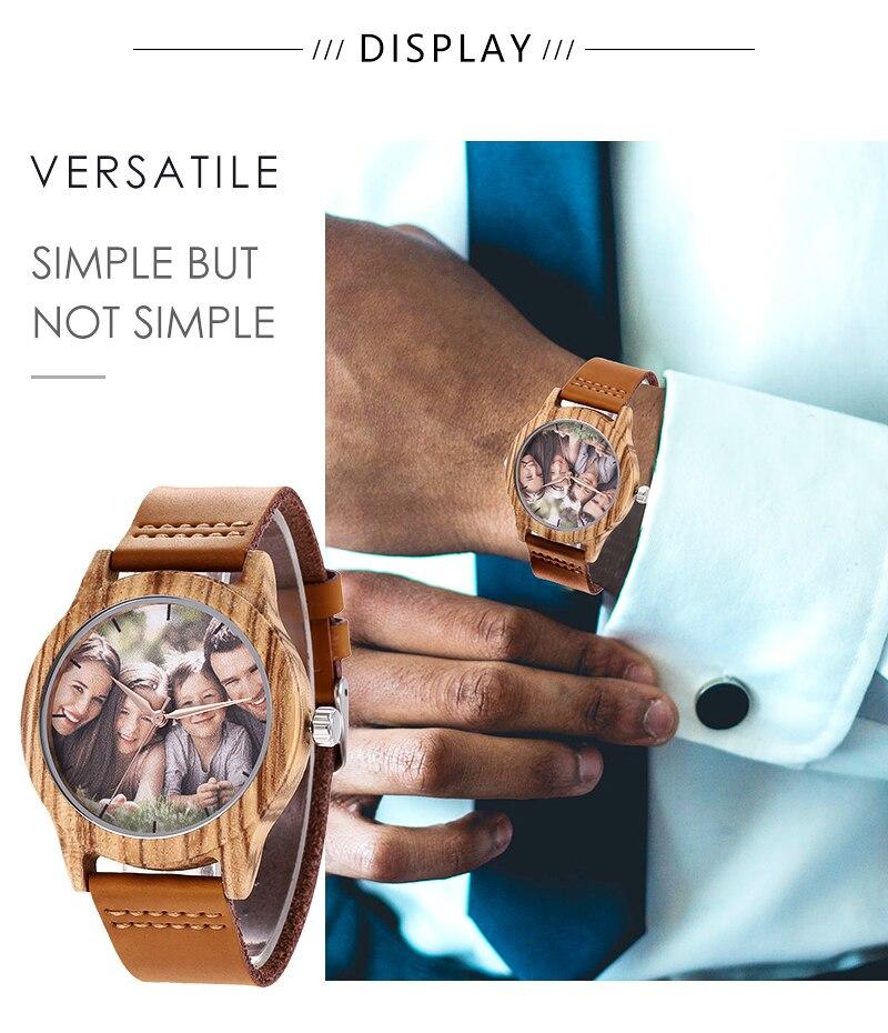 Accept Photo Personalized Customized Printing Your Photo Men Watch Unique Bamboo Wood Quartz Wristwatch Creative Souvenir Gifts 2020 2021 BOBO BIRD (5)