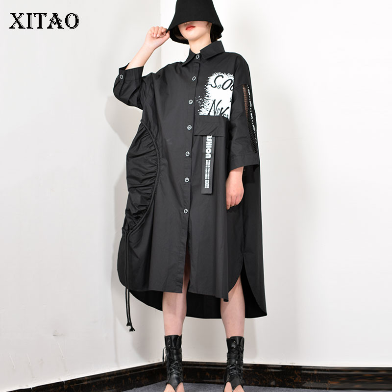 XITAO Fashion Trend Single-breasted Women Dress Black Loose Plus Size Belt Stitching Long Sleeve Dresses Spring New 2020 XJ3590