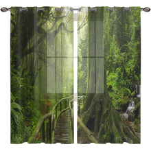 3D Room Curtains Natural Forest Tulle for Living Double Bedroom Rideaux Tende Gordijnen Firany Vorhang