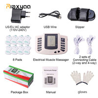TENS Electrical Muscle Stimulator Russian button Body Relax Muscle Massager Pulse Acupuncture Therapy Slipper+8 Pads+box+gloves