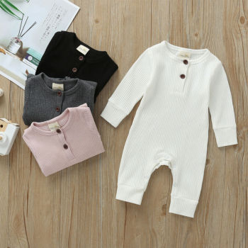 Babies Ribbed Cotton Romper for Sleeping 2