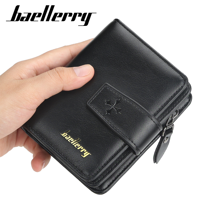 Baellerry 2020 Black Mens Wallet Vintage Leather Male Wallets And Purses Leather Card Holder Casual Men Purse For Coins