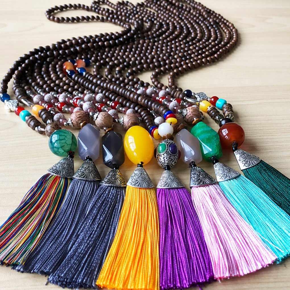 พู่สีสันหินธรรมชาติจี้สร้อยคอ Handmade Bohemian Boho VINTAGE ผู้หญิงลูกปัดหินสร้อยคอยาว