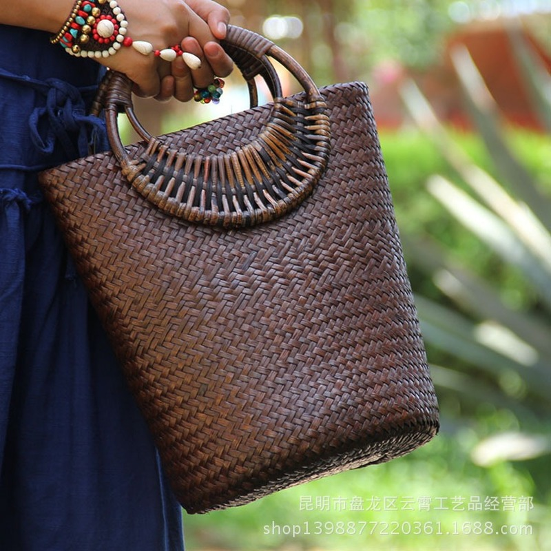 22 Style Straw Bag Rattan Wooden Handle Retro Woven Bag Bucket Bag Large Vacation Beach Bag