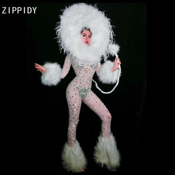 Sexy Mesh White Feather Big Rhinestones See Through Jumpsuit Prom Party Clothes Female Singer Show Cosplay Dance Outfit